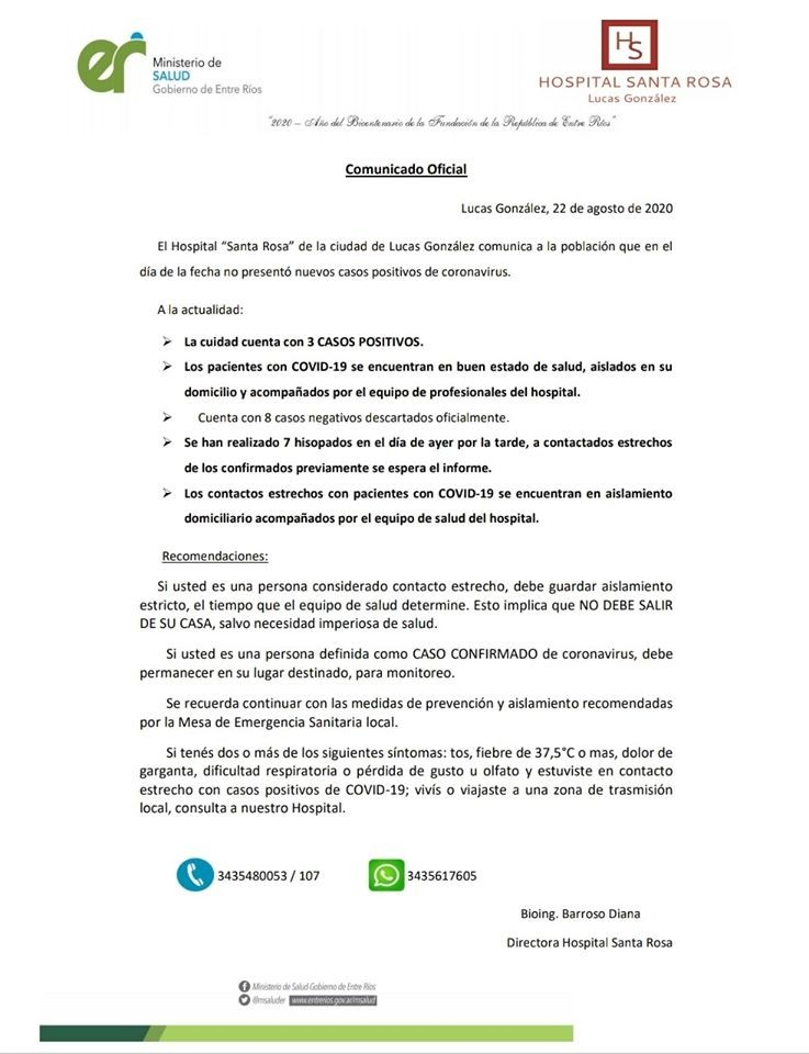 LUCAS GONZÁLEZ: NO HAY NUEVOS CASOS CONFIRMADOS Y HAY 7 HISOPADOS