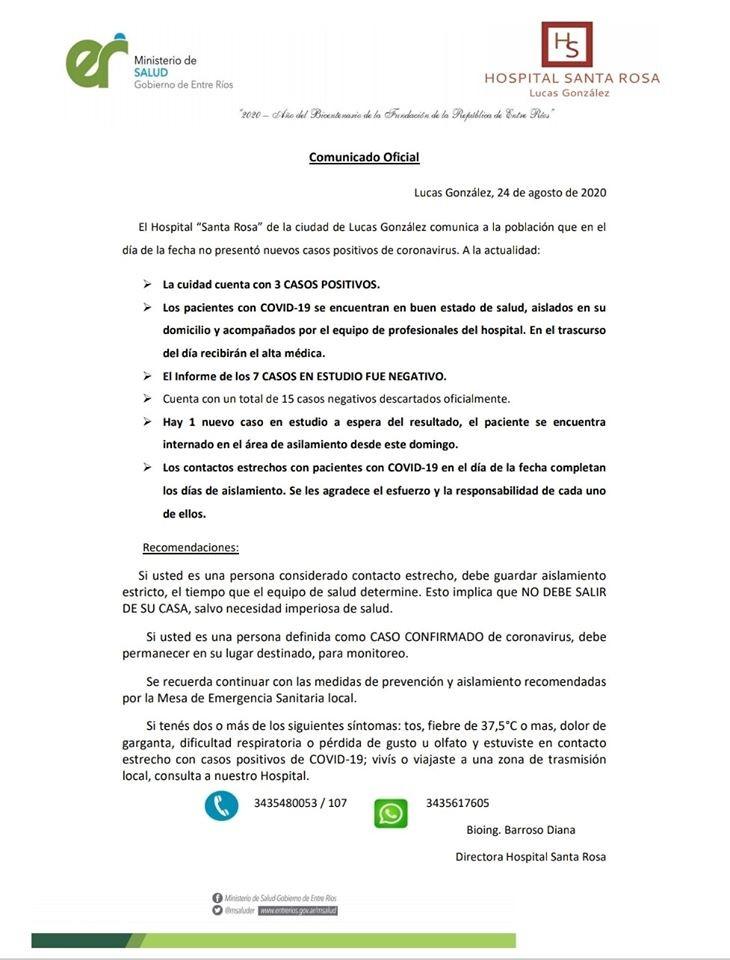 SIN CASOS NUEVOS DE COVID 19 EN LUCAS GONZÁLEZ