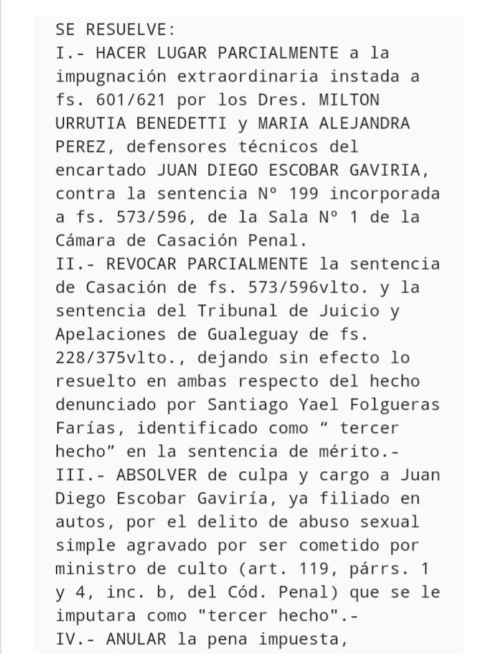 EL SUPERIOR TRIBUNAL DE JUSTICIA ABSOLVIÓ A ESCOBAR GAVIRIA EN UNA DE LAS CAUSAS
