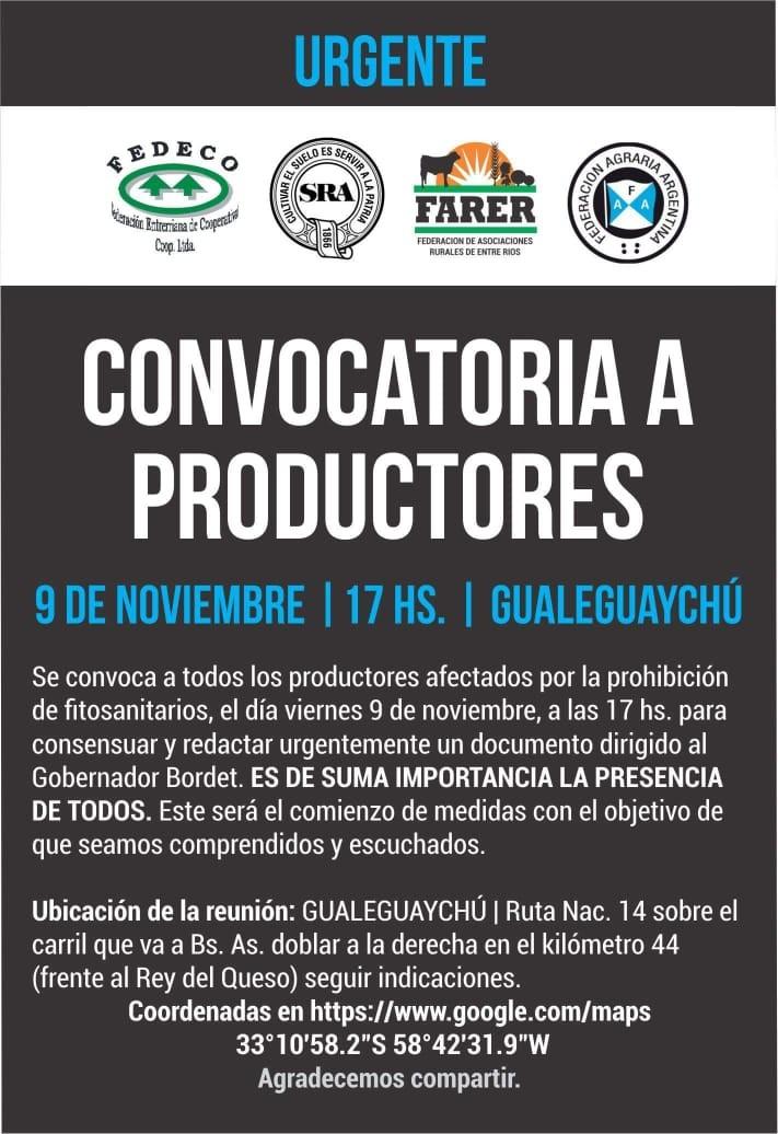 LA MESA DE ENLACE AGROPECUARIA PROVINCIAL LLAMA A LOS PRODUCTORES A CONCENTRARSE